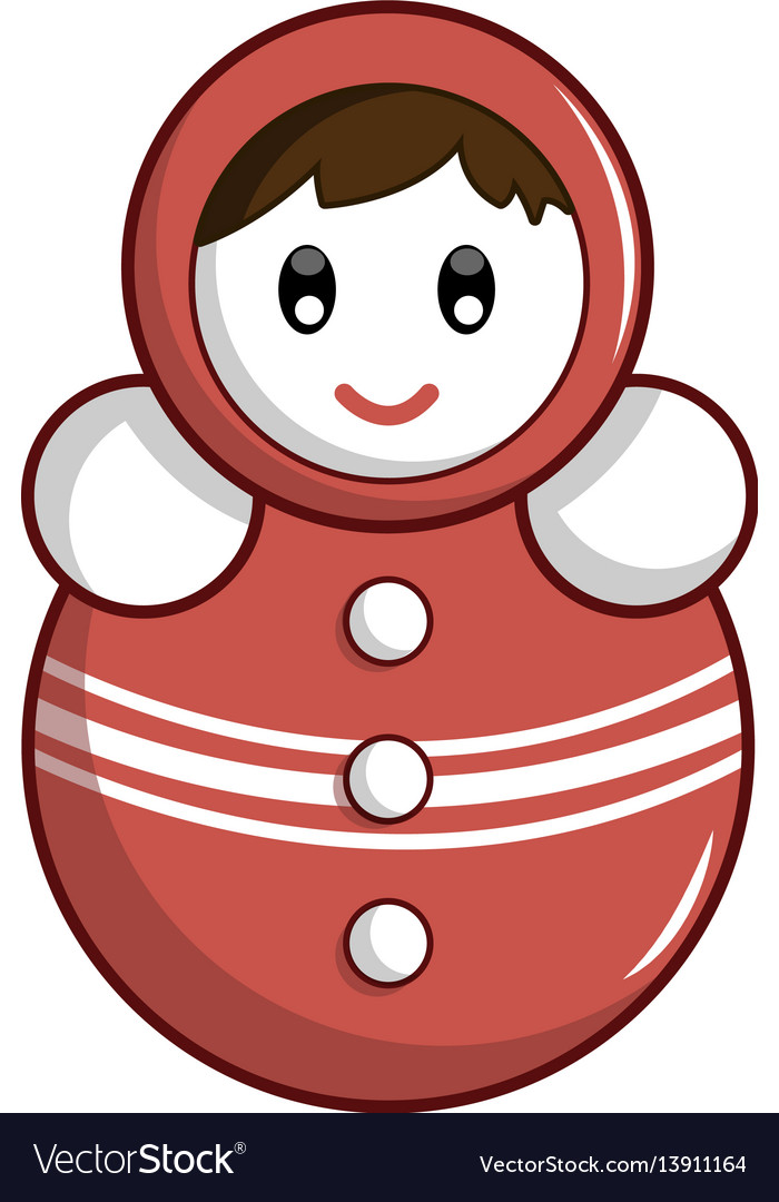 Red tumbler doll icon cartoon style
