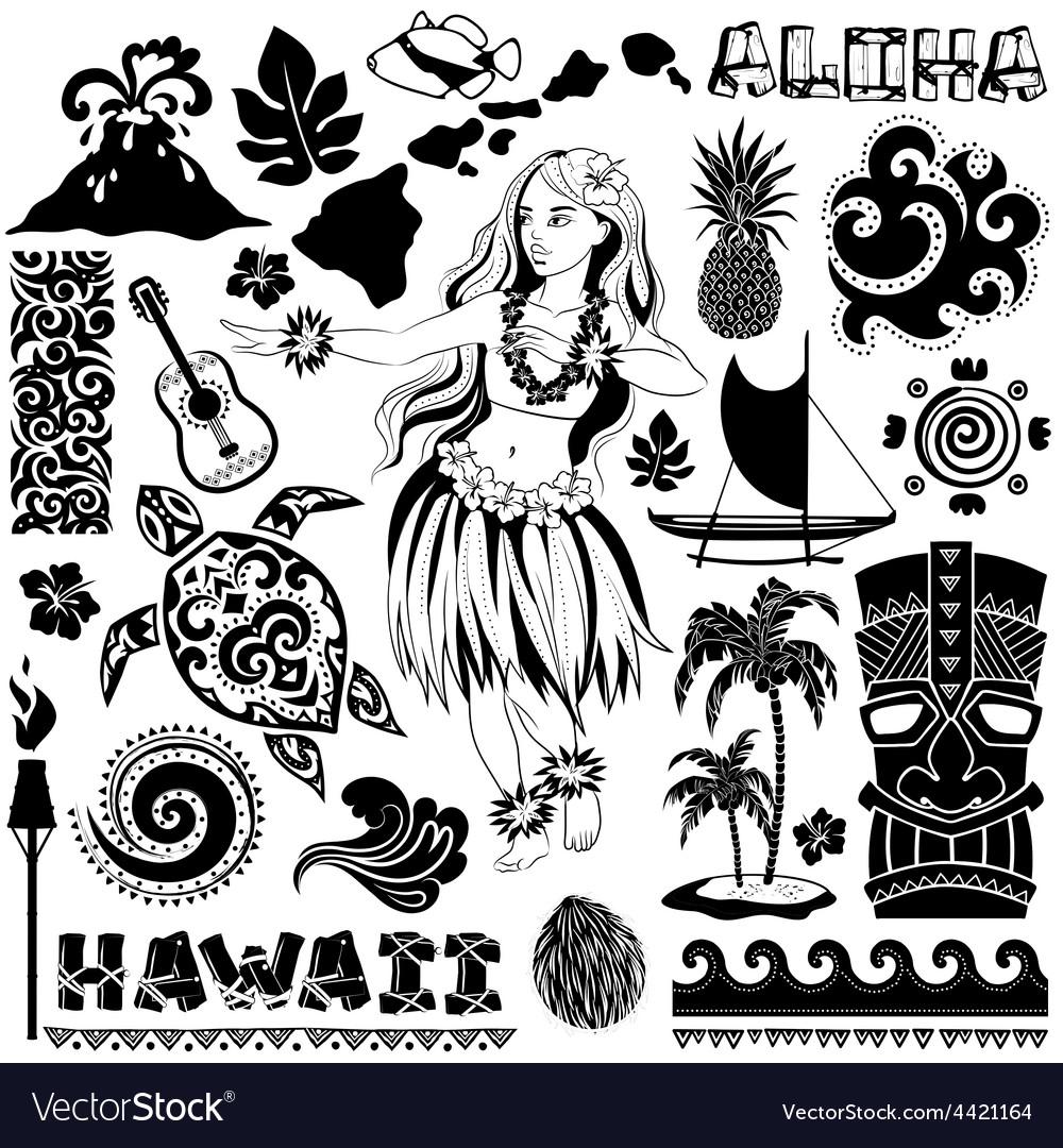 Retro set of Hawaiian icons and symbols