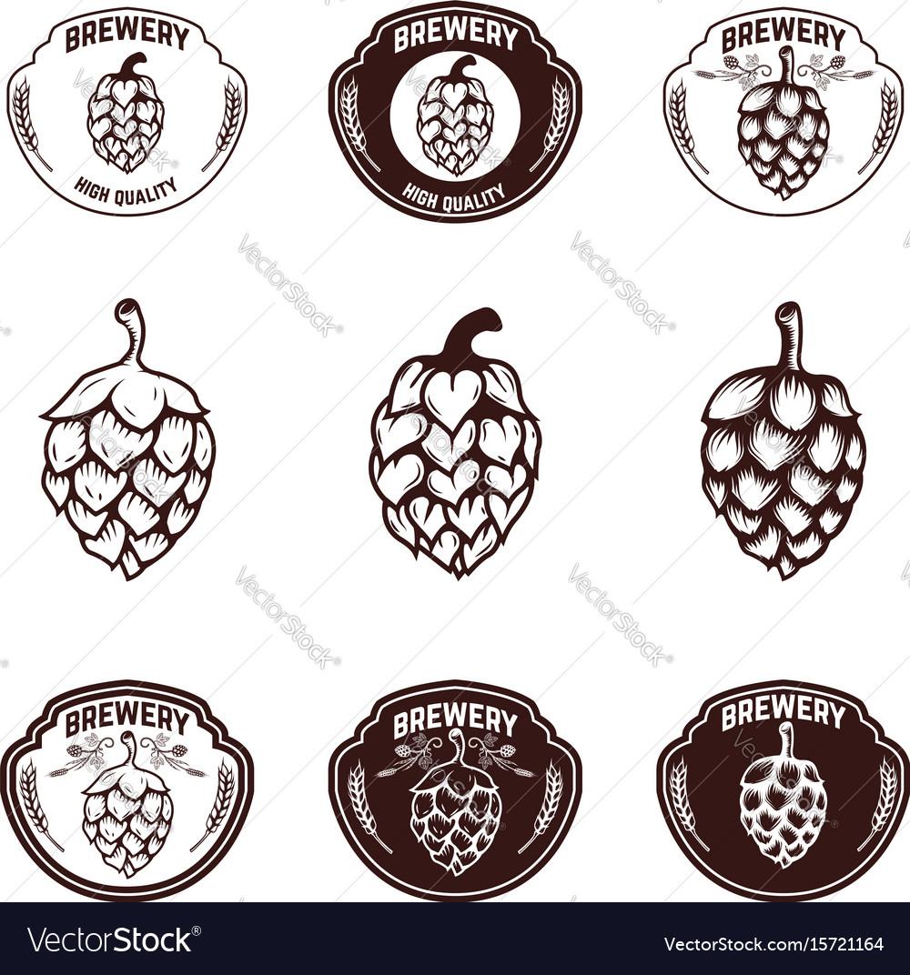 Set of brewery emblems beer hope design elements