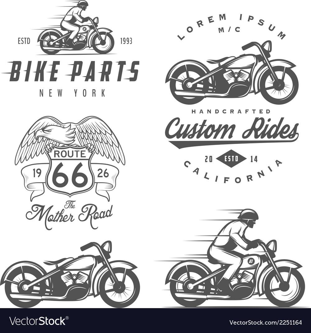Set of vintage motorcycle design elements
