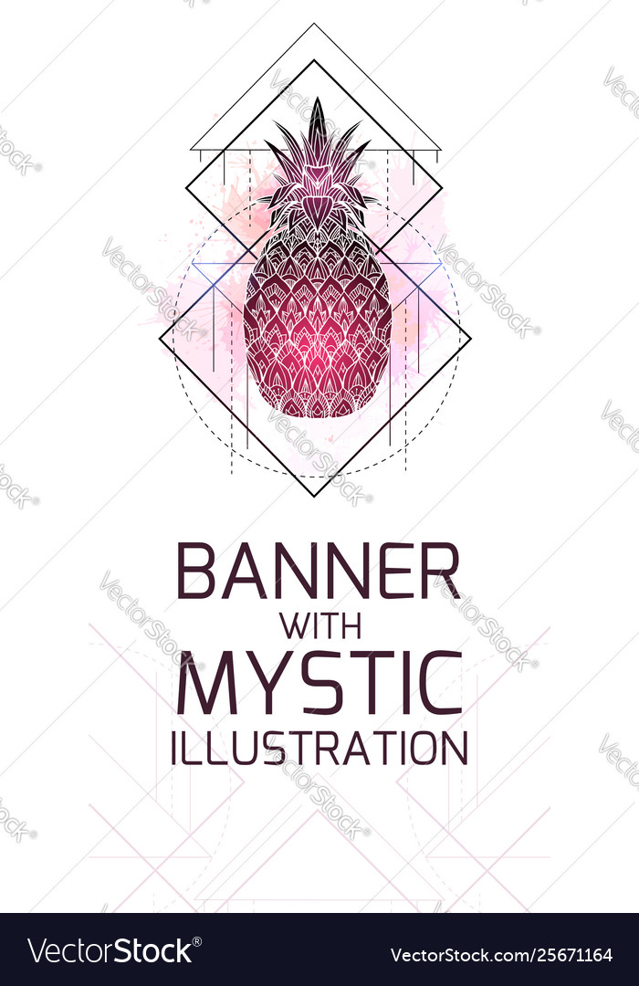 Vertical card with mystical a pineapple with a