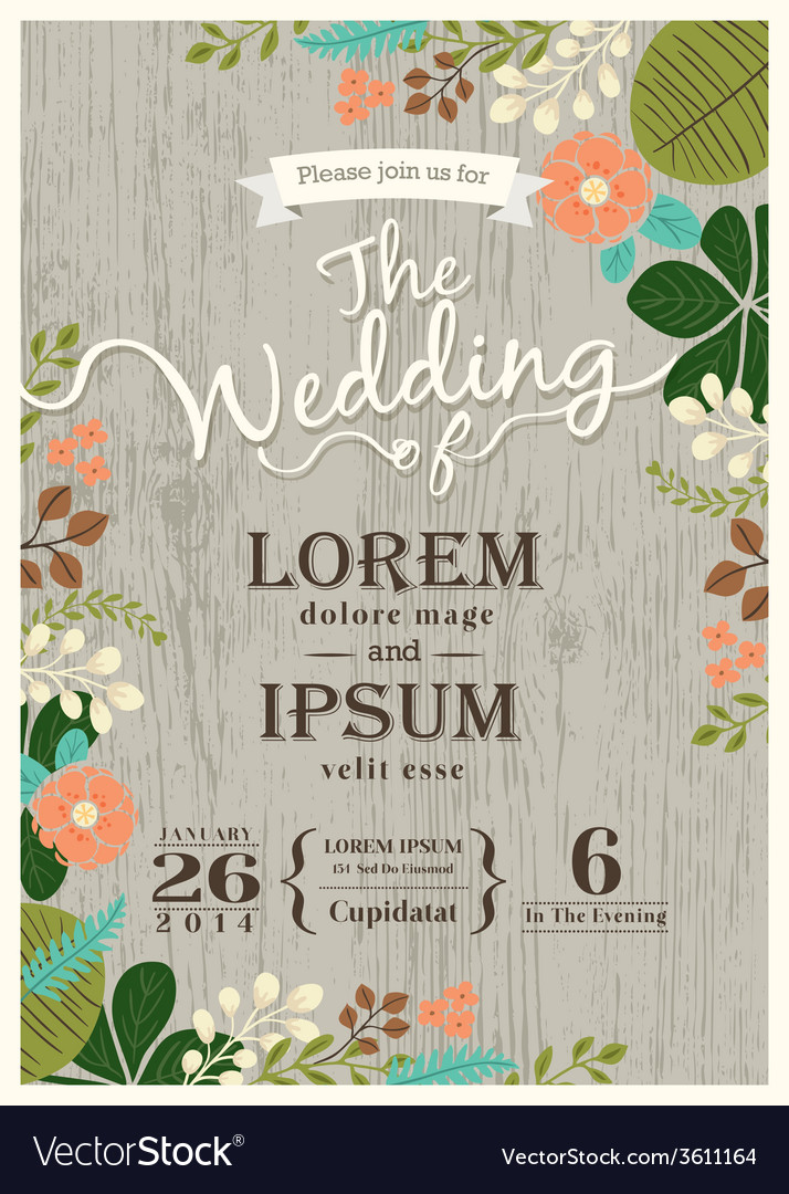 Vintage wedding invitation card floral background vector image stopboris Choice Image