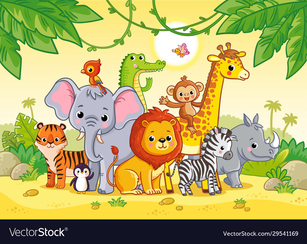 African landscape with cute african animals large