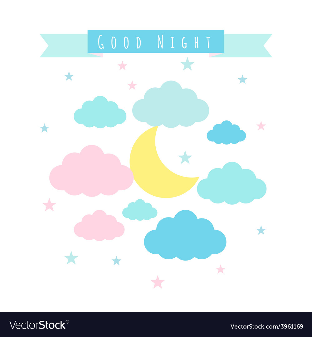 Childish background with moon clouds and stars