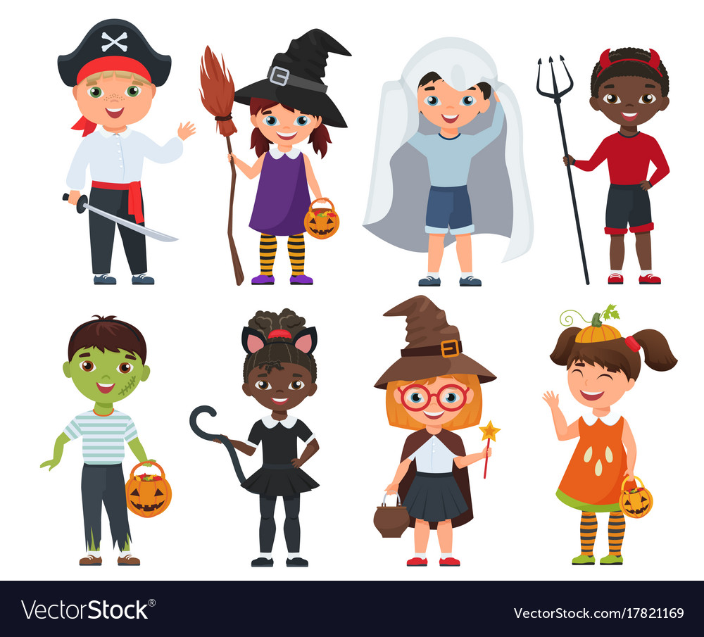 Cute halloween kids set cartoon