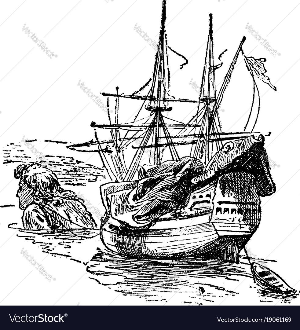 Giant pulling ship vintage
