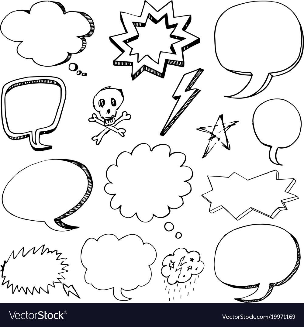 Hand drawn cartoon speech bubbles vector image