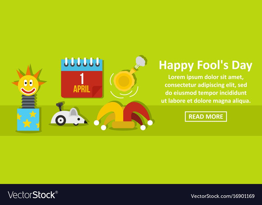 Happy fools day banner horizontal concept