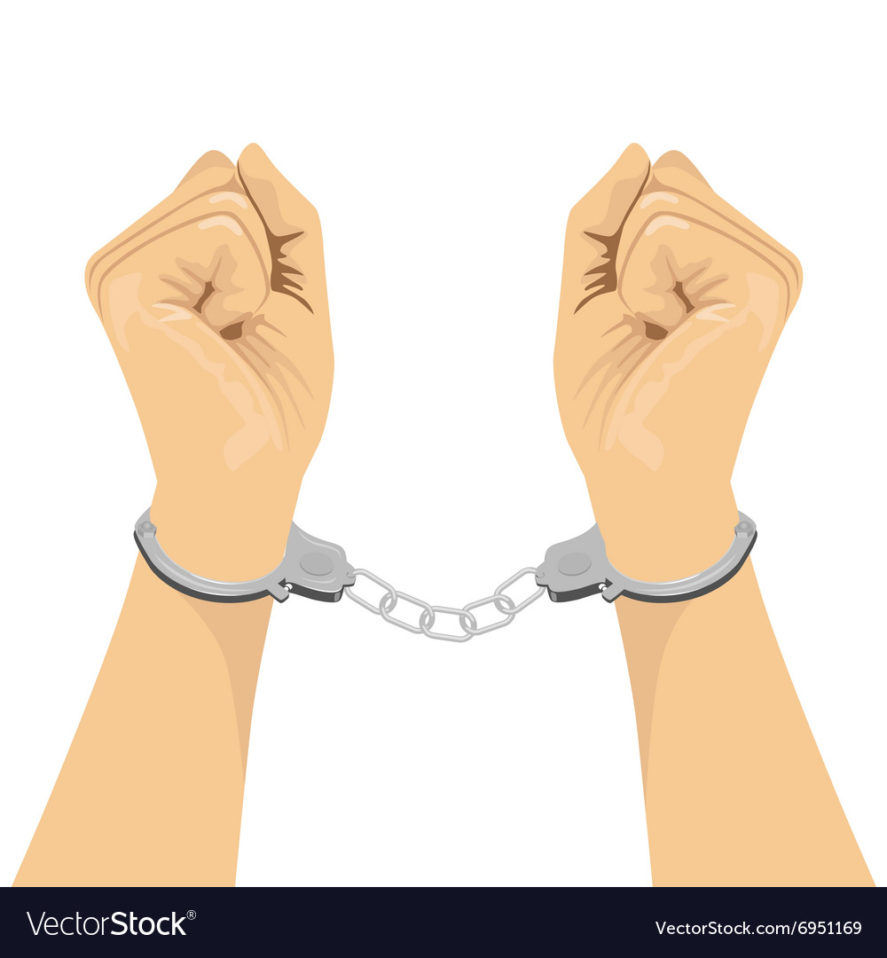 Pair of hands in handcuffs