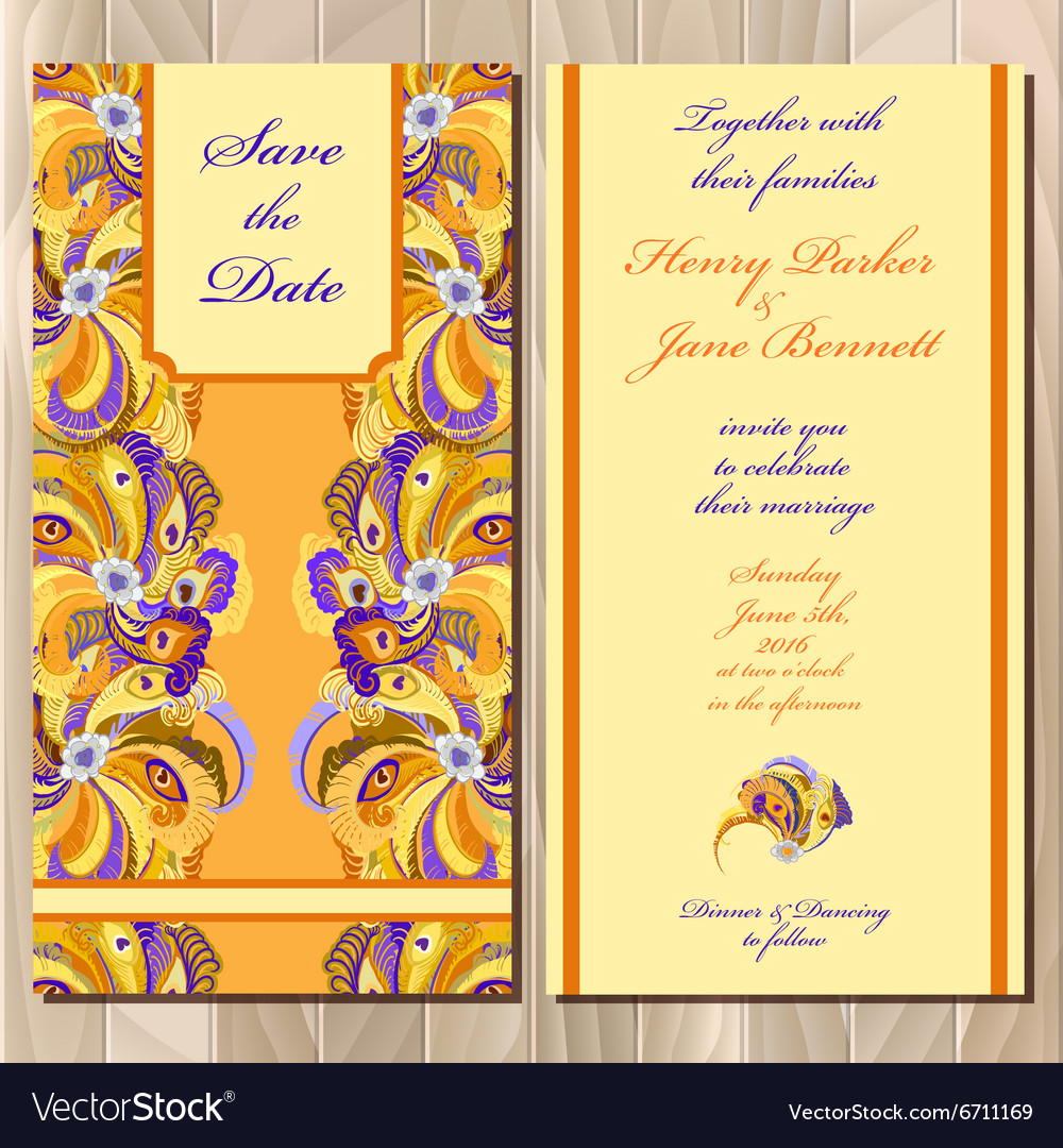 Peacock Feathers wedding invitation card
