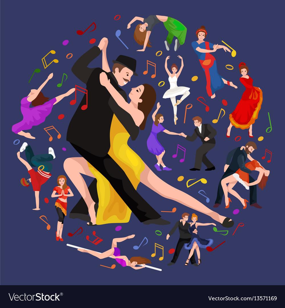 Yong couple man and woman dancing tango with