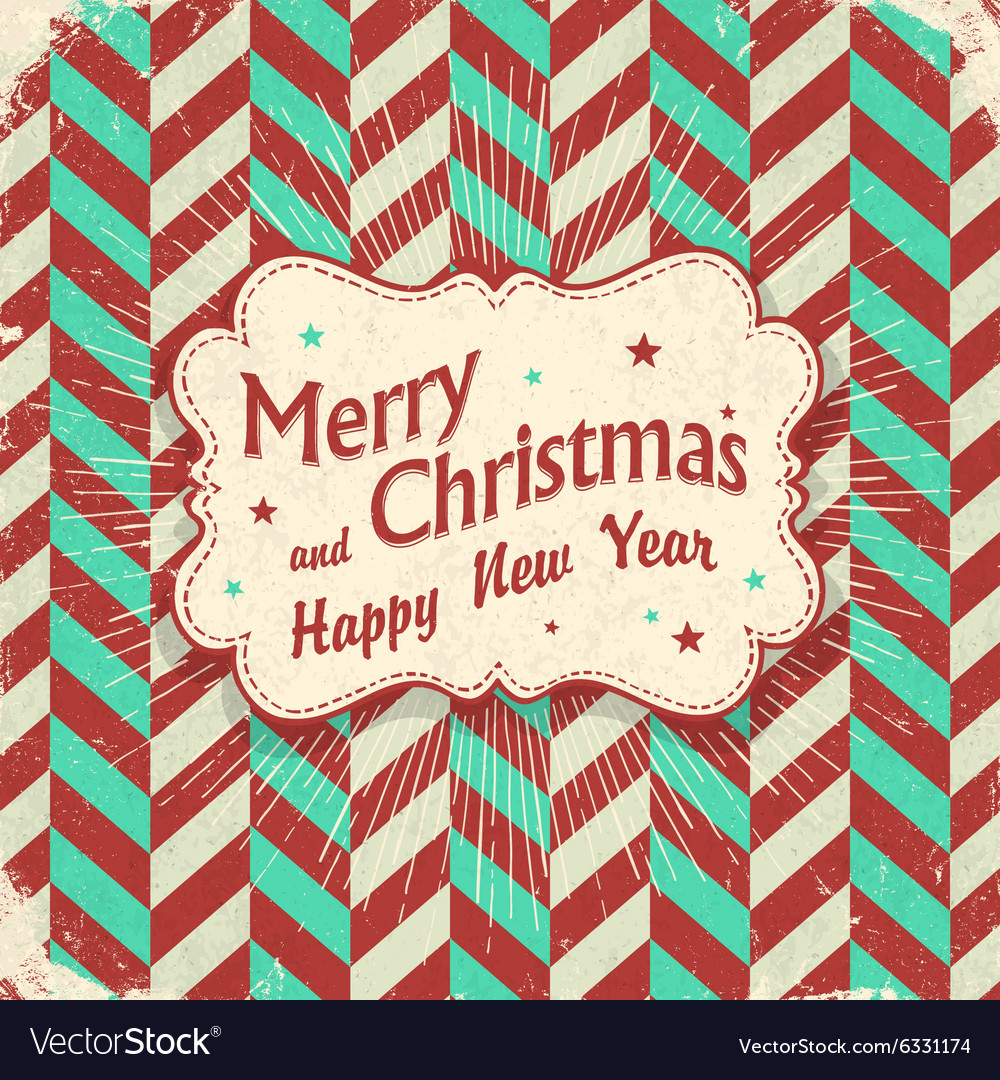 Christmas lettering card design aged with rays
