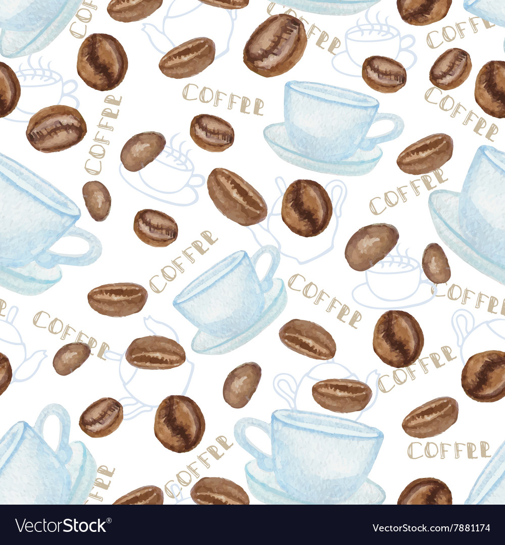 Coffee beans and white Cup seamless pattern