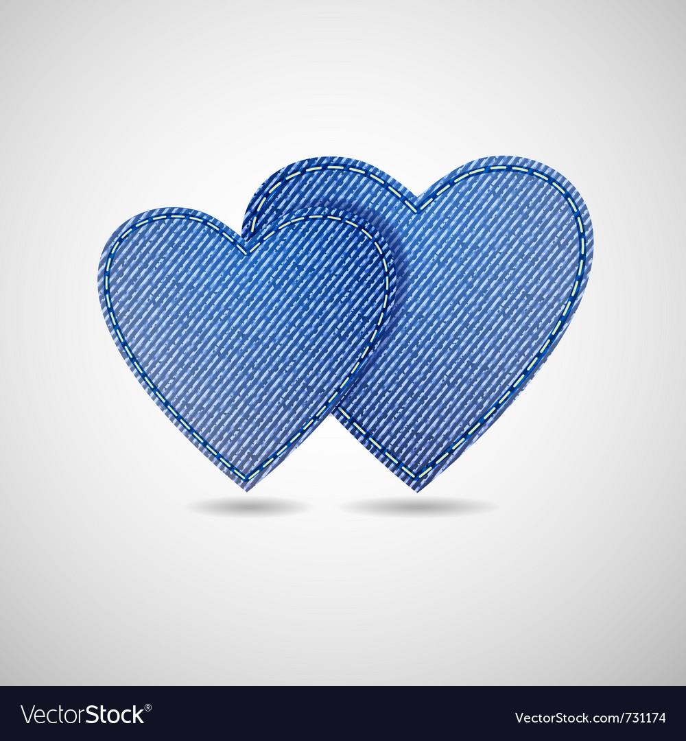 Denim hearts vector image