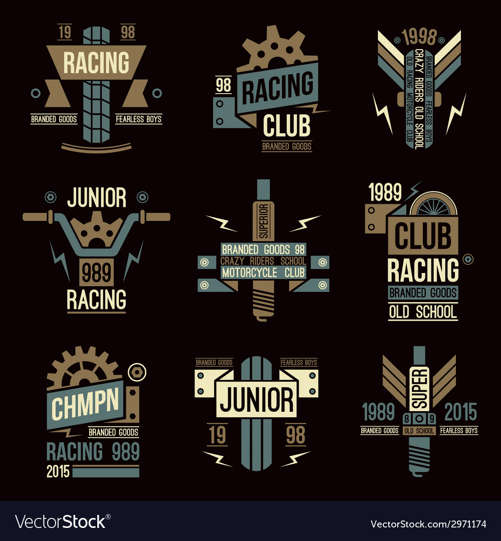 Emblems Motorcycle Races In Retro Style Royalty Free Vector