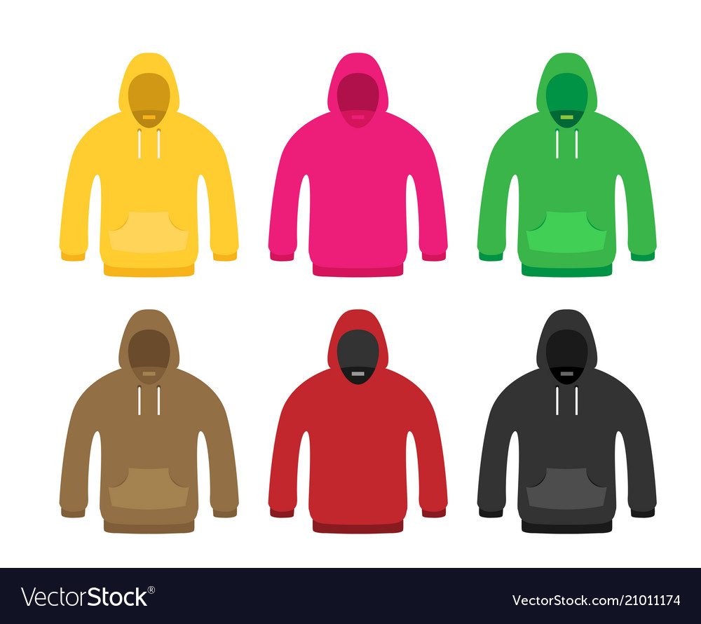 Flat icon hoodie element set