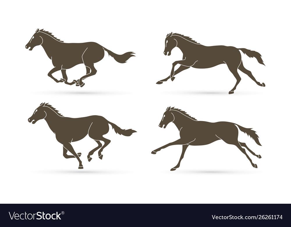 Group horses running cartoon graphic