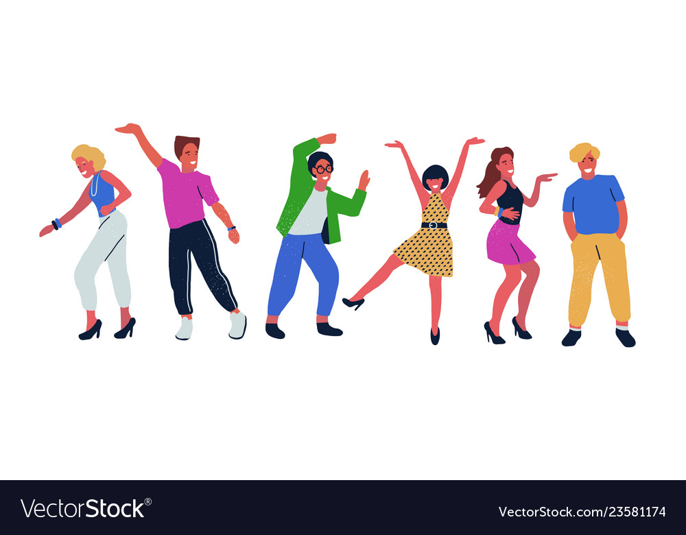 Group of young dancing people isolated on white