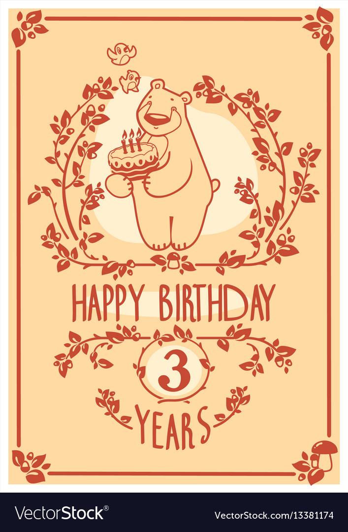 Happy birthday greeting card with cute bear