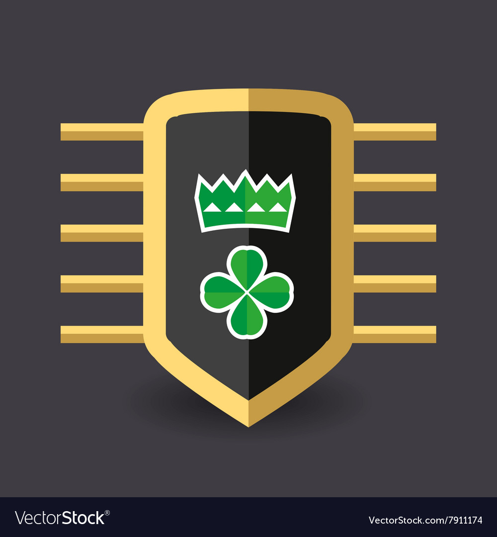 Magic shield crown and a quatrefoil clover vector image
