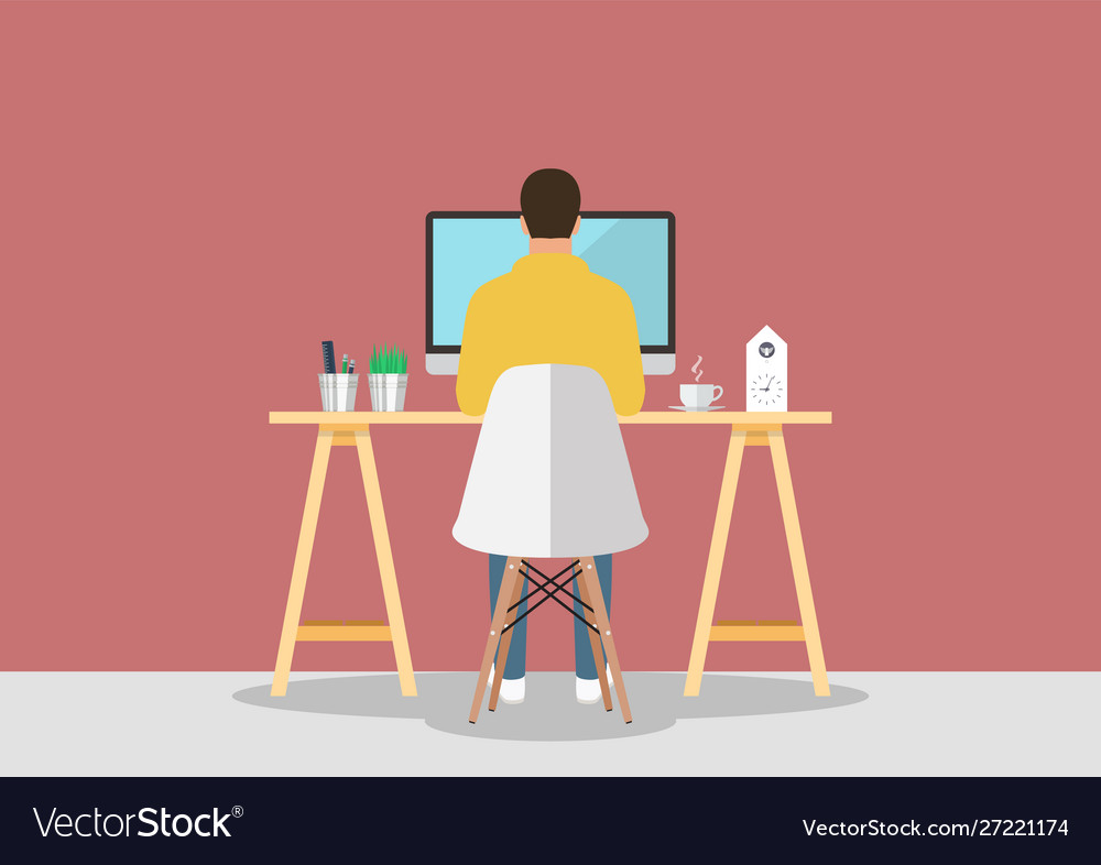 Man working on computer in modern style workplace