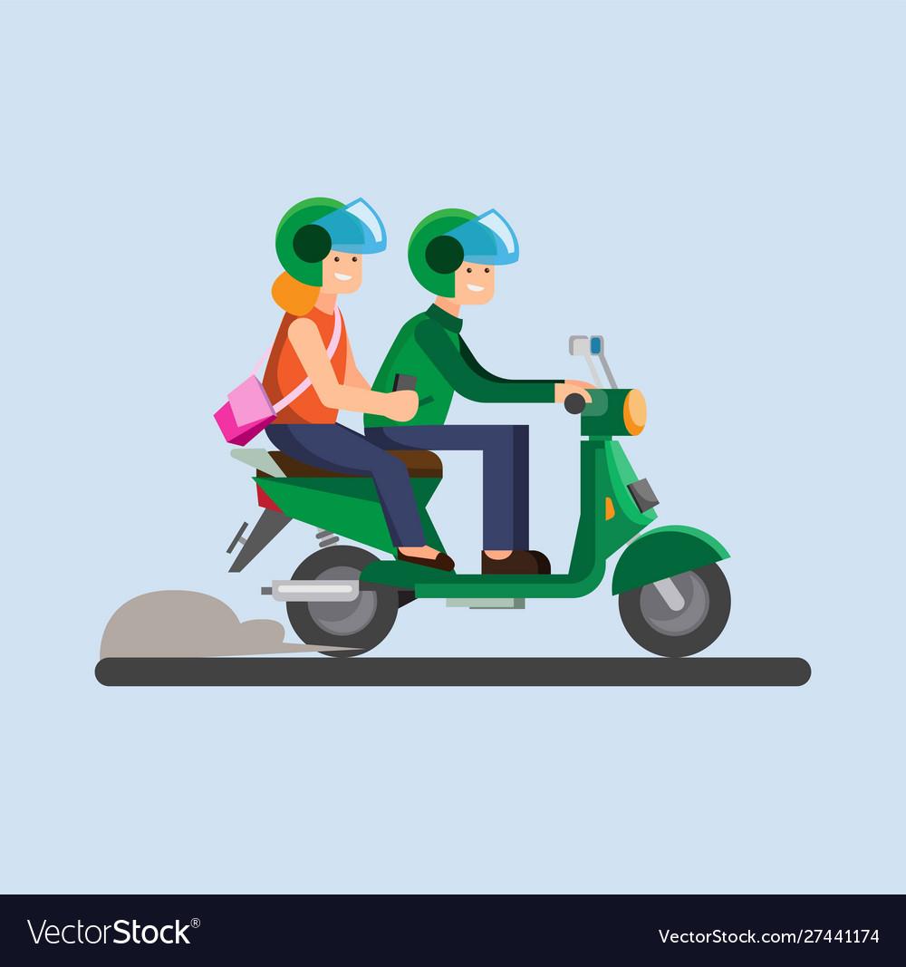Online transportation biker motorcycle icon vector image