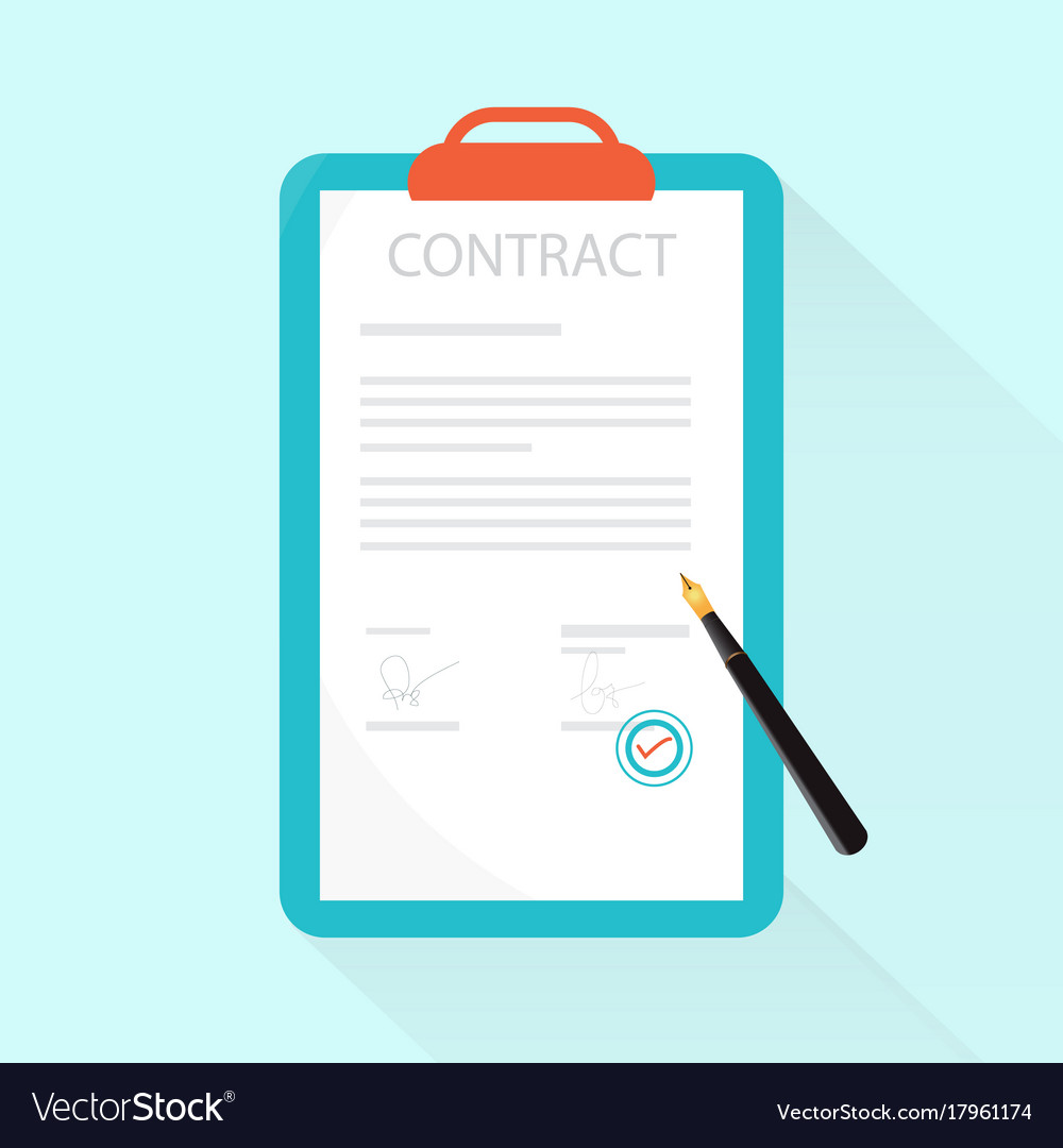 Paper deal contract with pen on desk