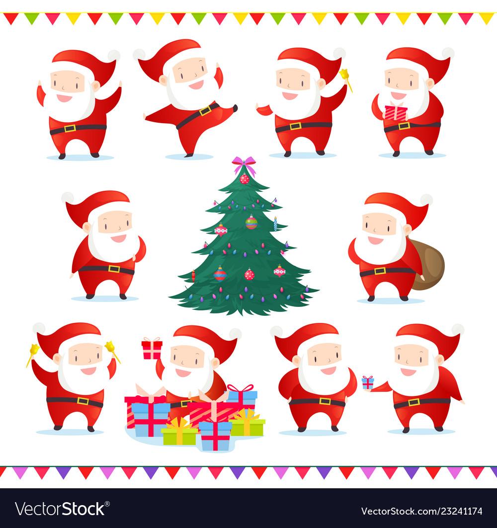 Set of cute and funny santas