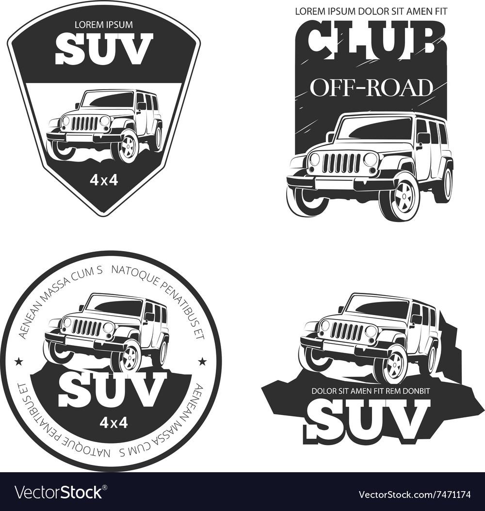Suv car emblems labels and logos