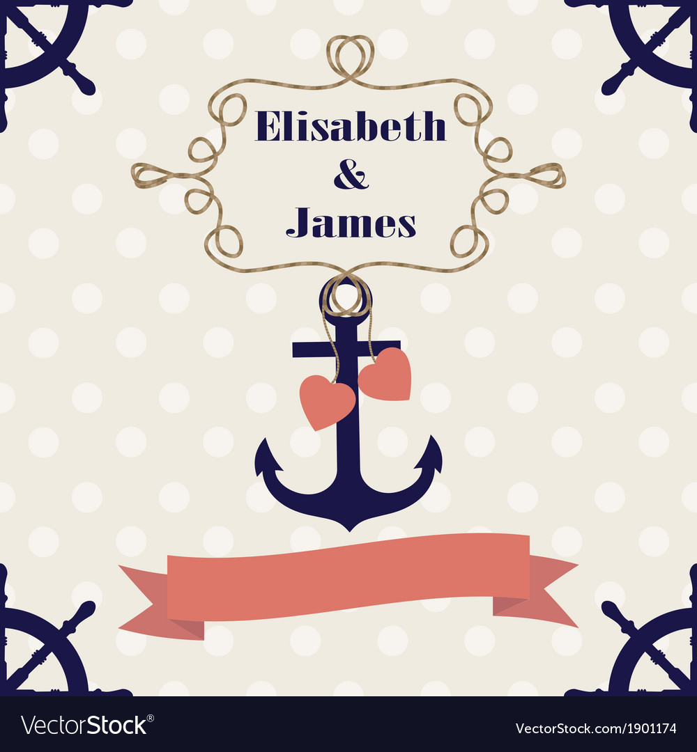 Wedding nautical invitation card with anchor on po