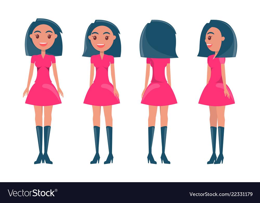Brunette girl in modern elegant look young girls