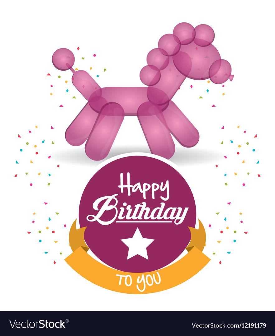 Cute balloon horse happy birthday confetti ribbon