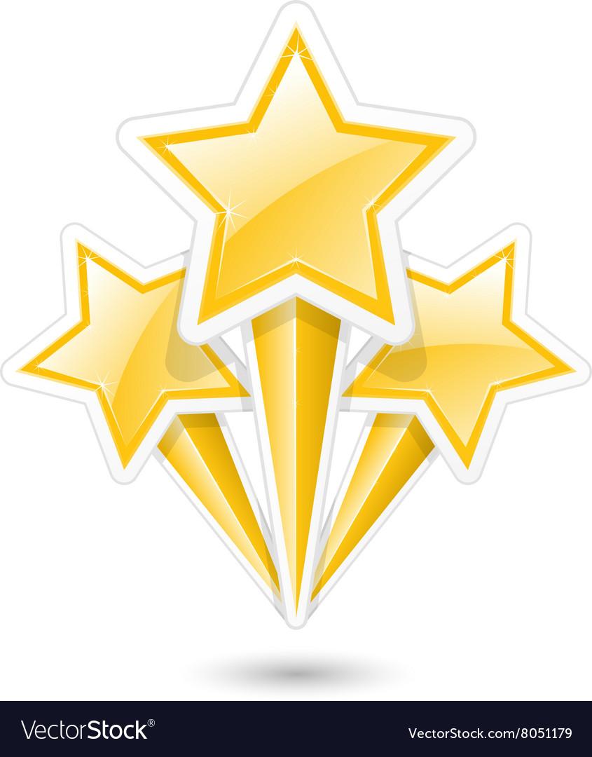 Golden stars on sticks - symbolic fireworks icon