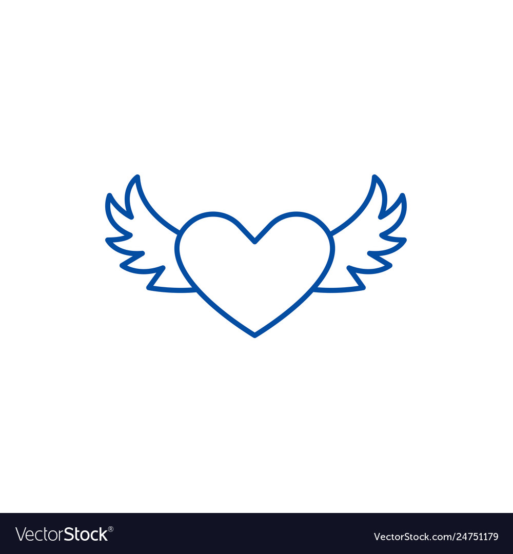 Heart with wings line icon concept heart with
