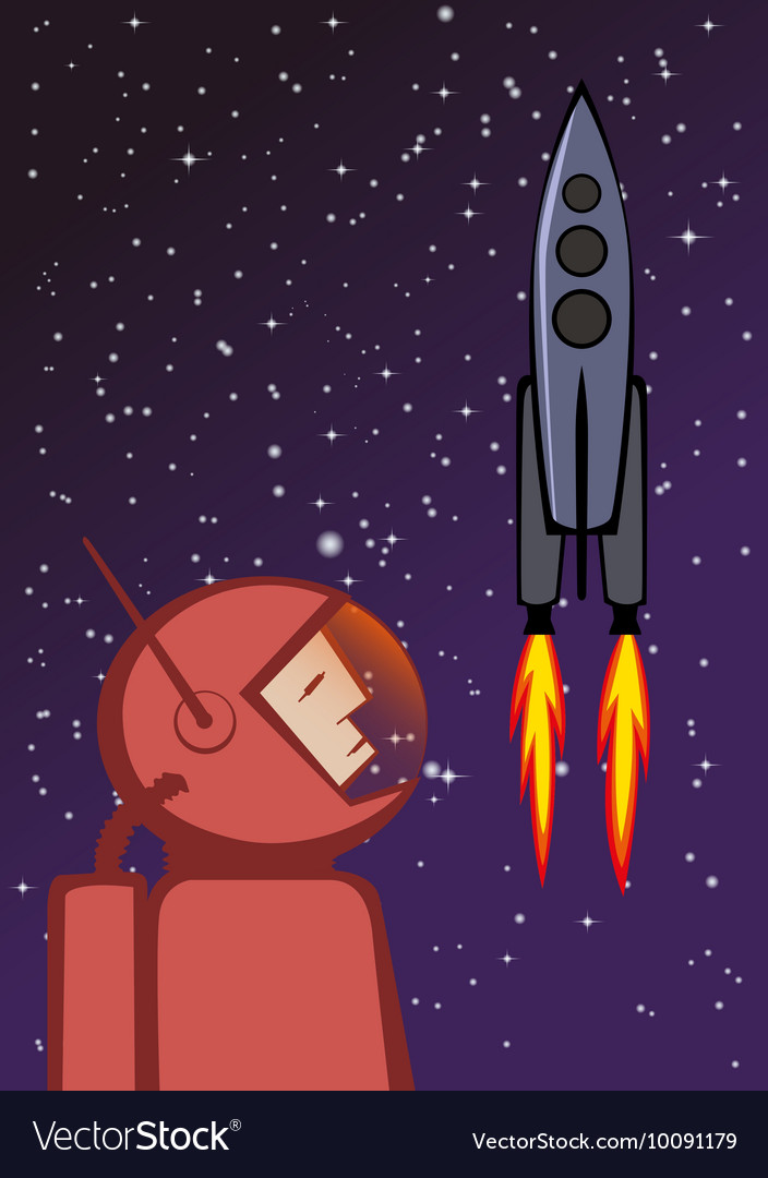 Heroic astronaut and flying space rocket
