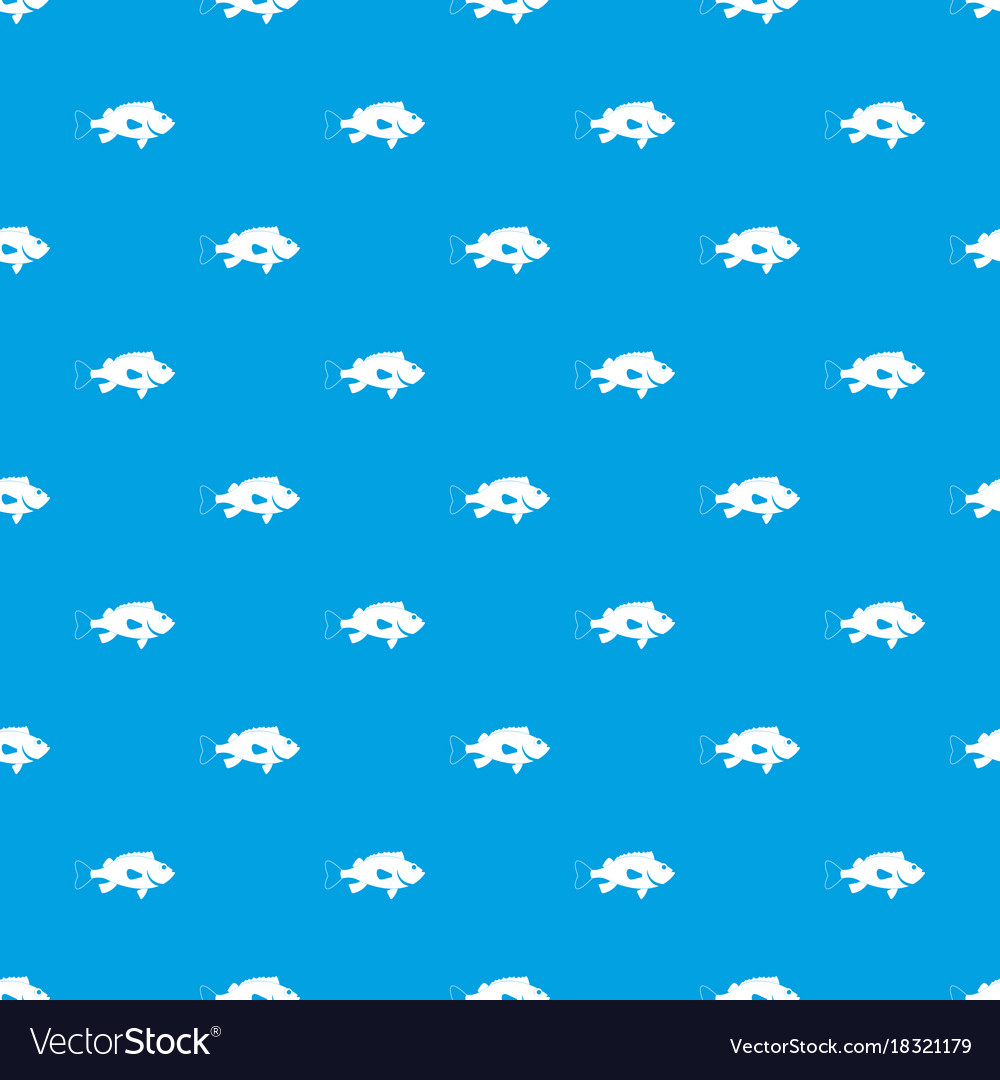 Sea bass fish pattern seamless blue vector image