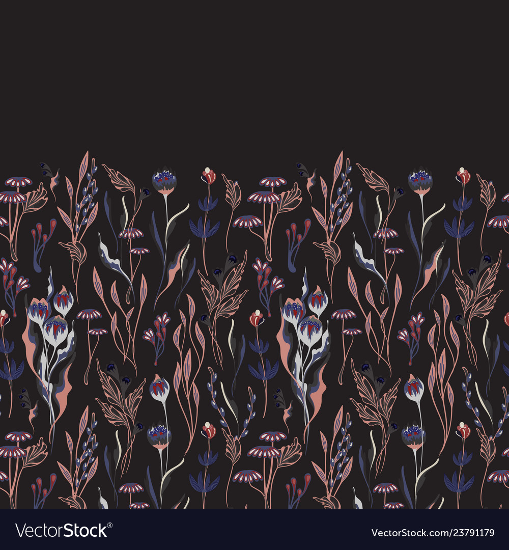 Seamless floral border herbs and wild