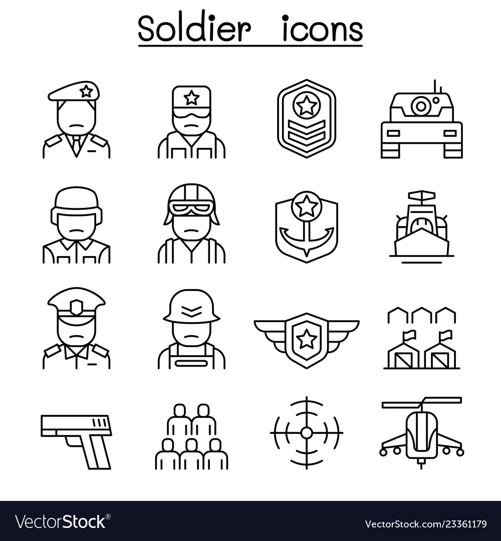 Soldier military icon set in thin line style