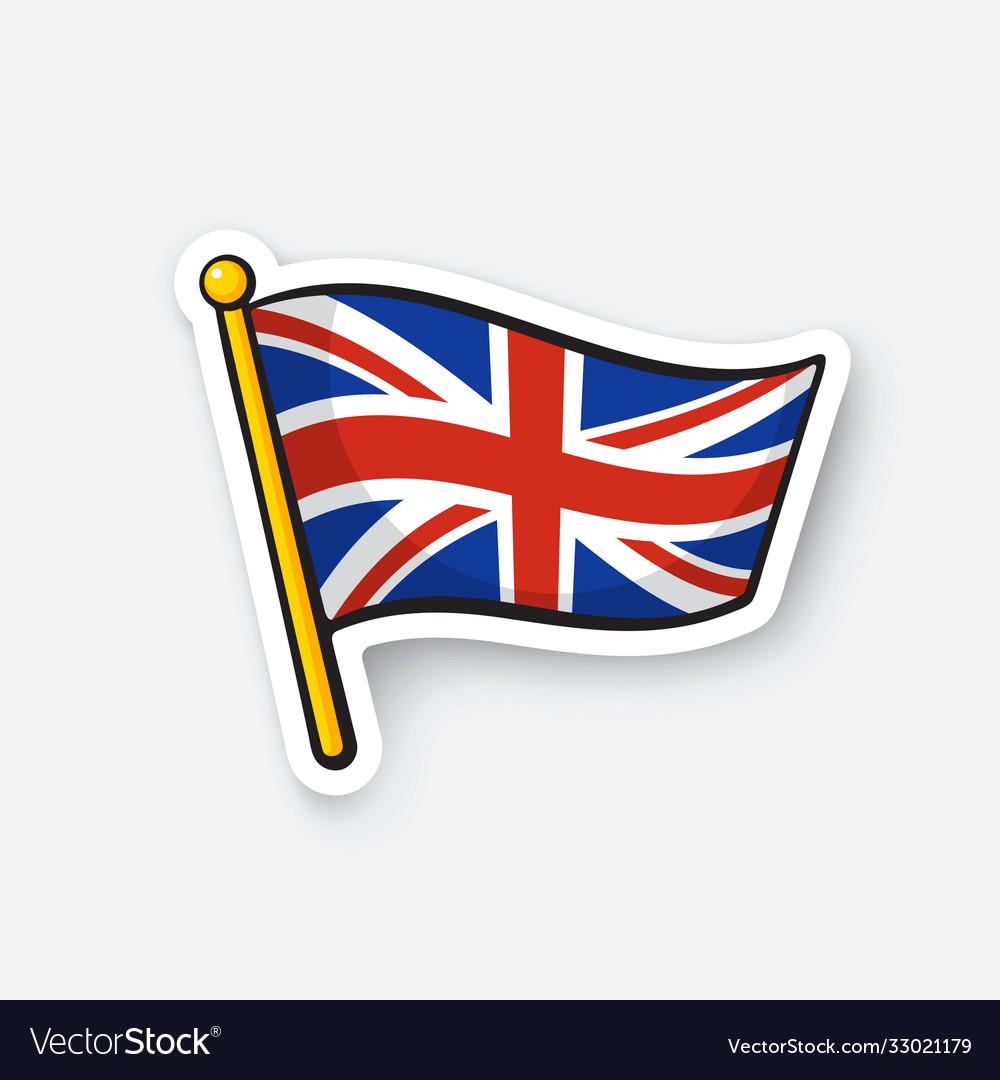 Sticker flag united kingdom on flagstaff