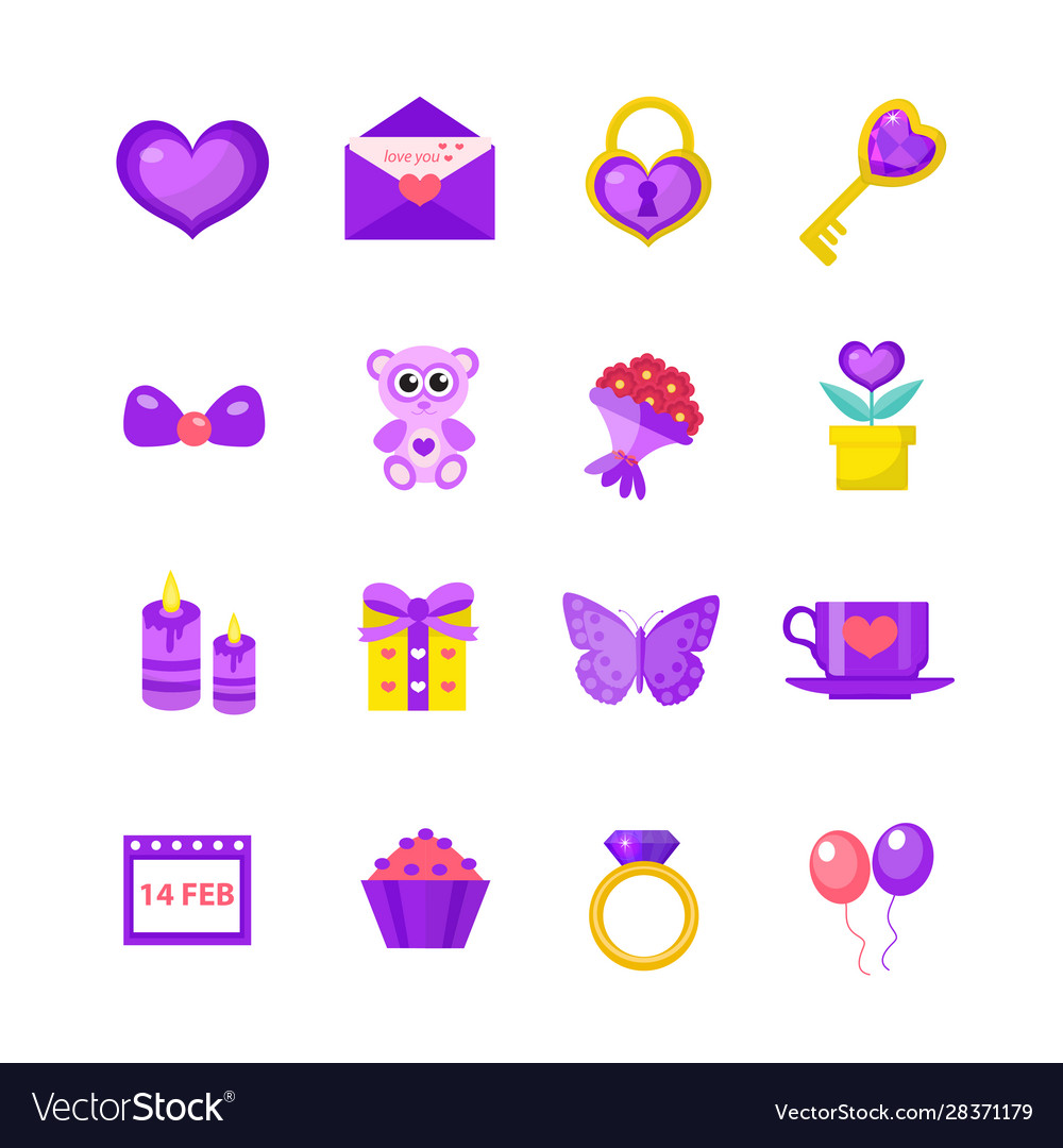 Valentines day icon set flat style love romance