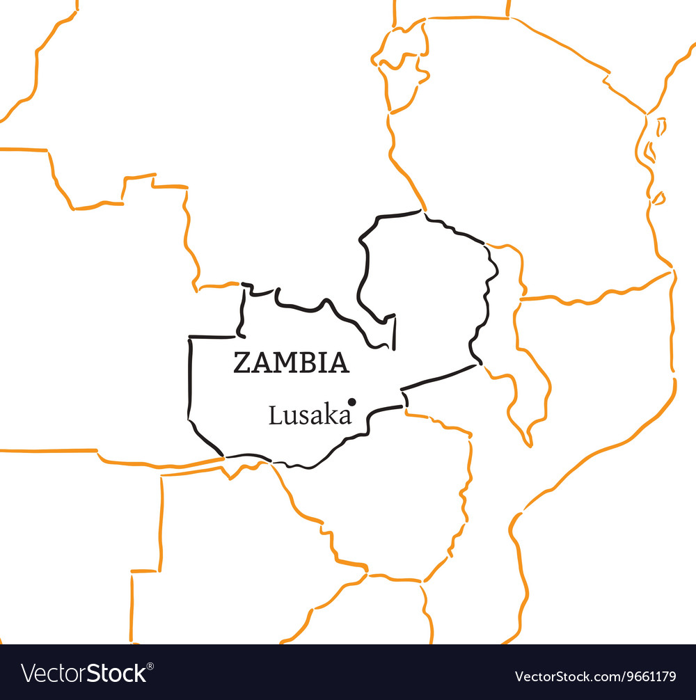 Zambia hand-drawn sketch map Royalty Free Vector Image