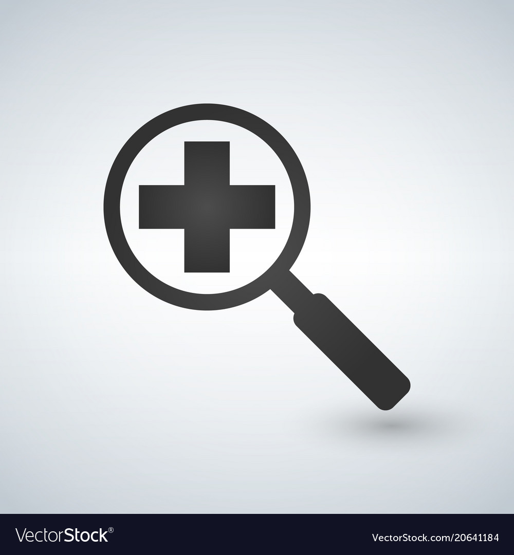 An isolated magnifier icon with a pharmacy sign