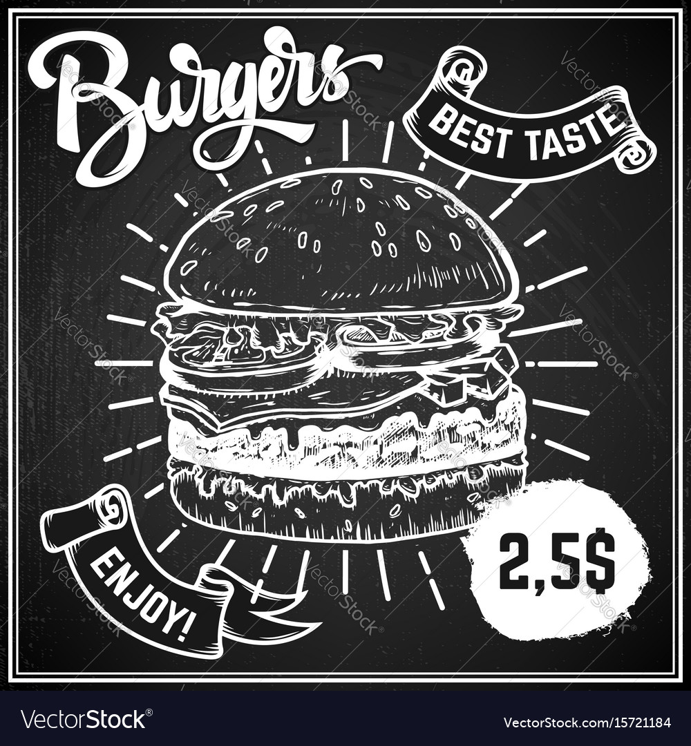 Burgers menu cover layout menu chalkboard with