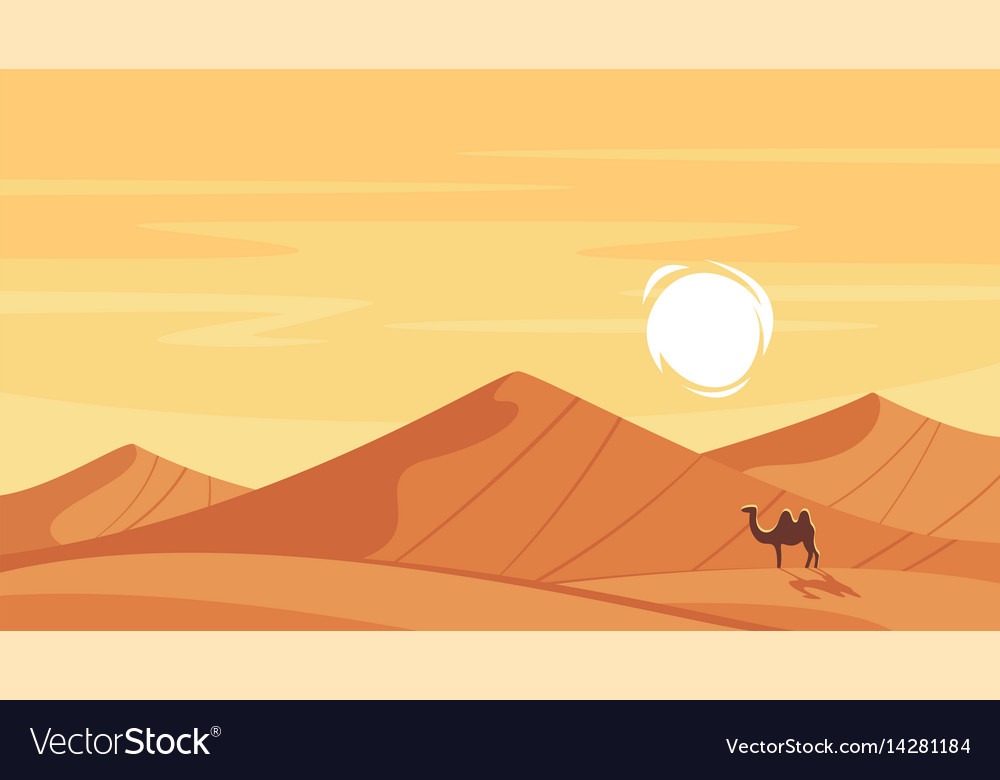 Cartoon Style Background With Hot Desert Vector Image