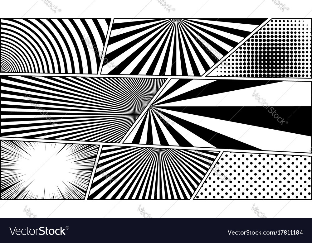 Comic book monochrome blank backgrounds set