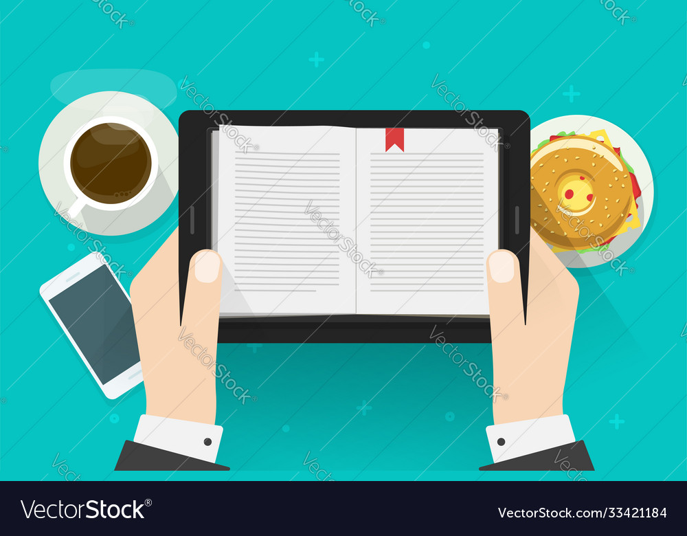 Digital book reading man electronic notebook