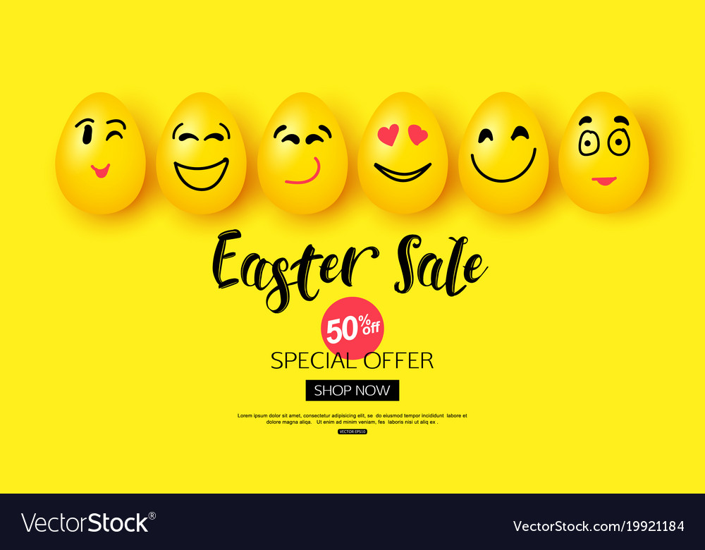 Easter sale background with cartoon smiling eggs