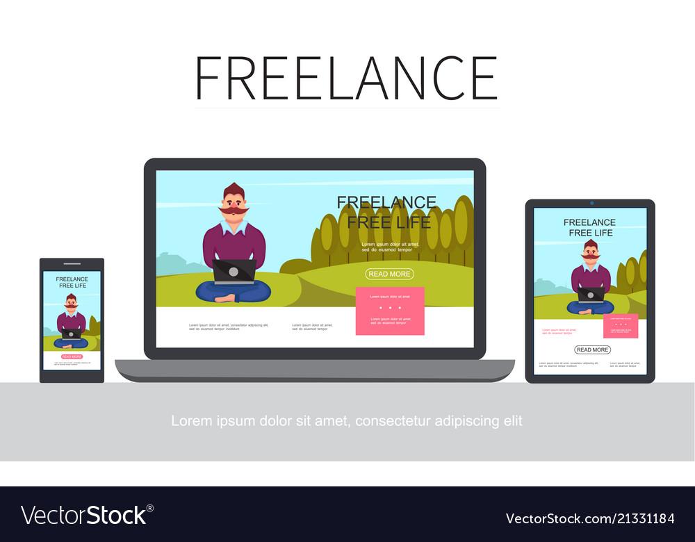 Flat freelance modern concept