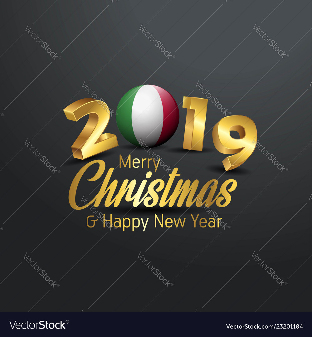 Christmas In Italy 2019.Italy Flag 2019 Merry Christmas Typography New