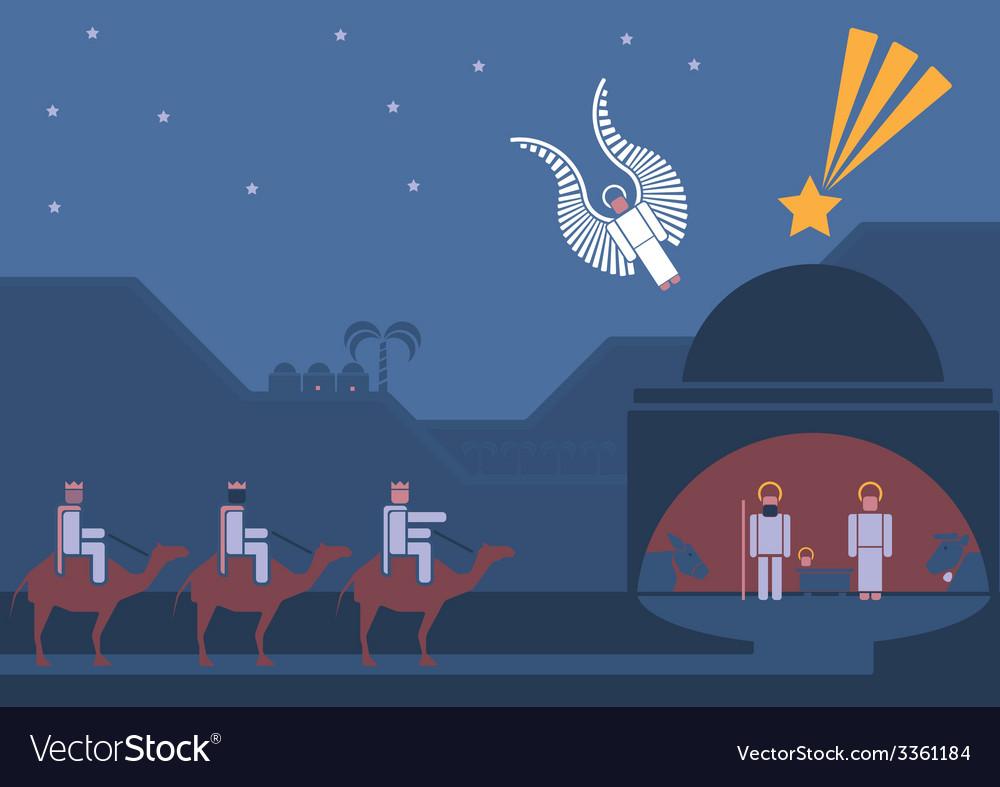 Nativity scene and three wise men